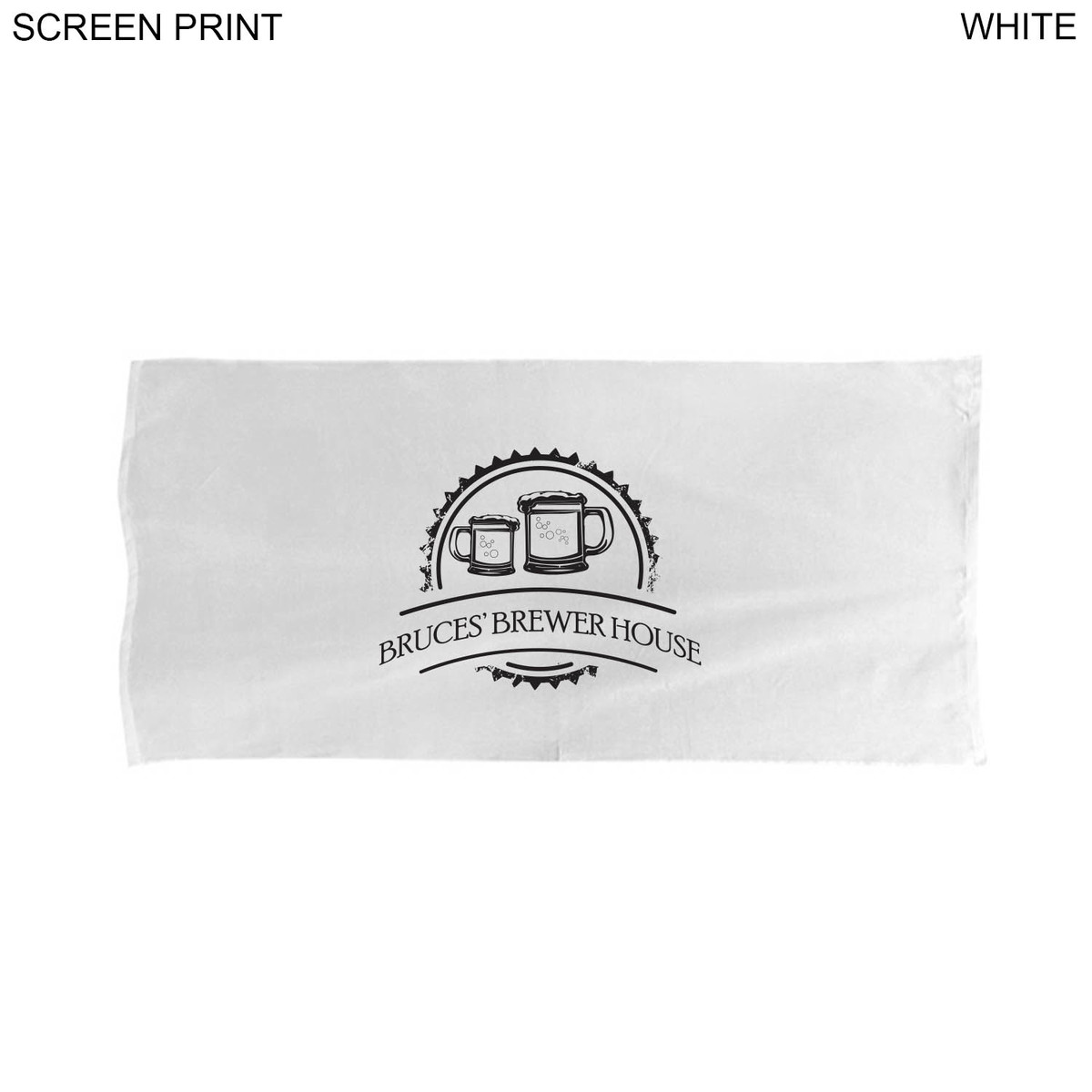 Velour Over Sized White Beach Towel 34x70 Printed or Blank