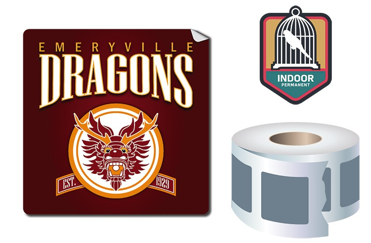Roll Stickers / Decal - Indoor Permanent - 4x4 Square Shape