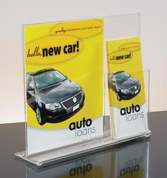 Counter Sign holder w/ 8.5w & (1) 4-1/8w brochure pocket & Business card Pocket