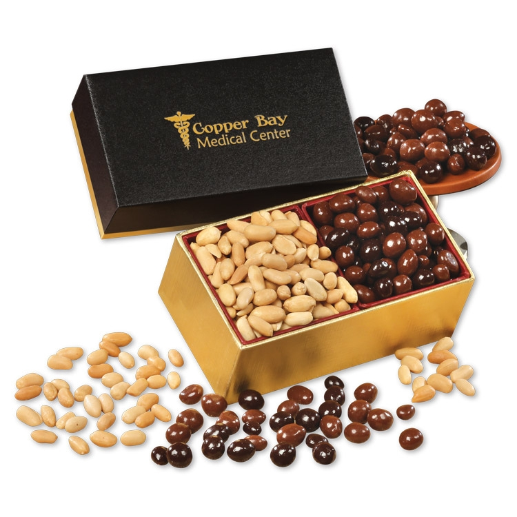 SAVE OVER 25% - Choice Virginia Peanuts & Chocolate Covered Peanuts in Black & Gold Gift Box