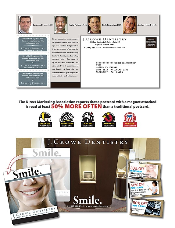 Health Magna-Peel Postcard (10.5x5.5) with 3 Perforated Coupons and 3.5x4 Magnet
