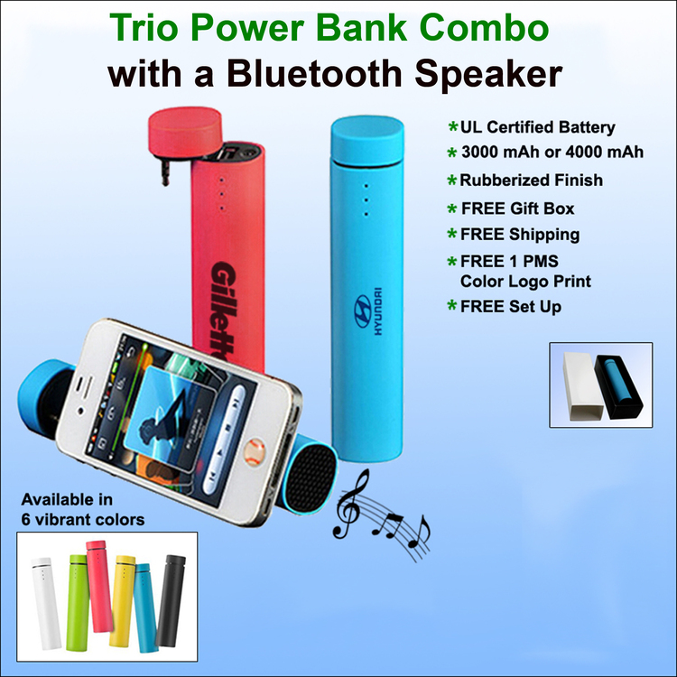 Trio 3 in 1 Power Bank & Speaker with Stand- 4000 mAh - Free Shipping, Free Setup!