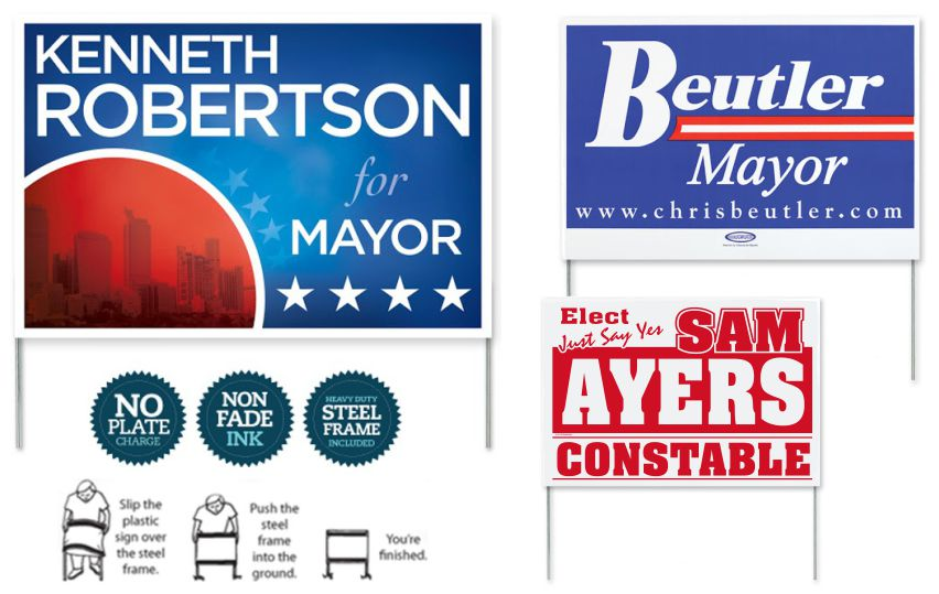 Political Campaign Poly Bag Yard Signs Custom Printed
