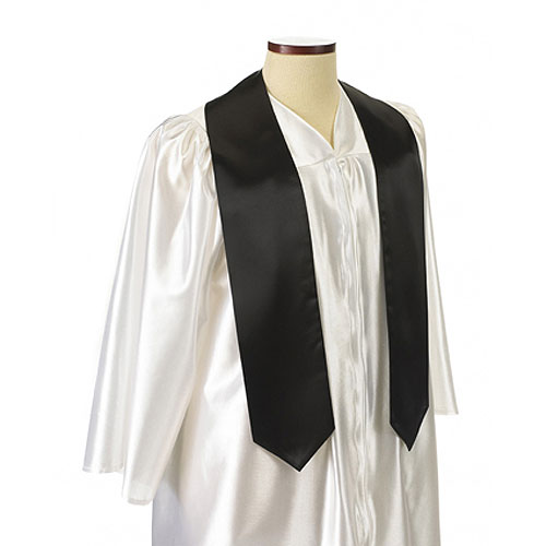 Black Polyester Satin Graduation Sash / Stole