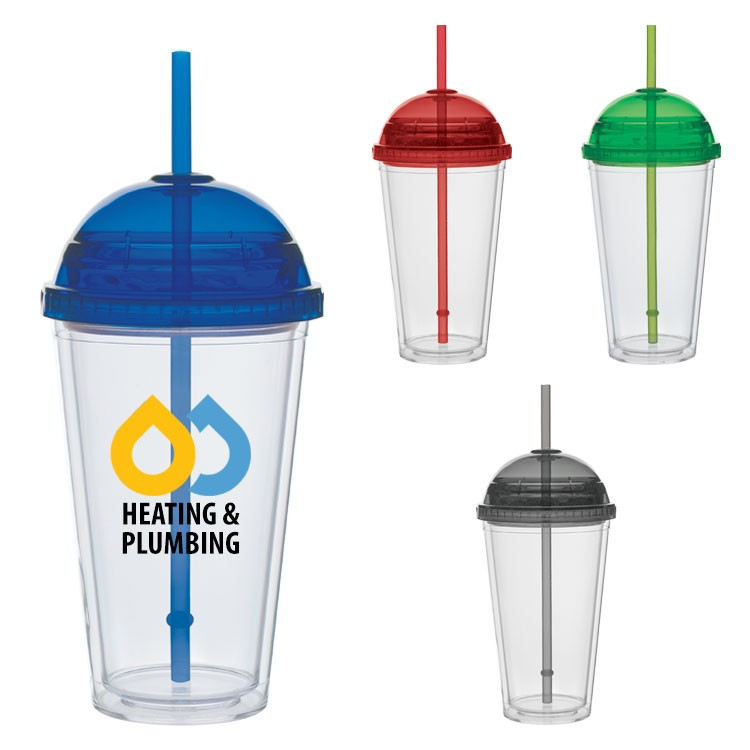 16 oz. Big Top Carnival Cups - Color Straw and Lid