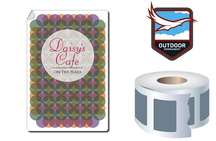 Roll Stickers / Decal - Outdoor Permanent - 6x4 Rectangle Shape