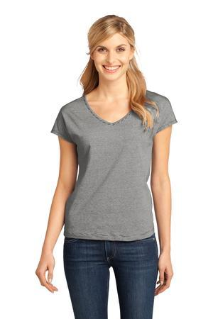 CLOSEOUT District Made - Ladies Mini Stripe Dolman V-Neck Tee.