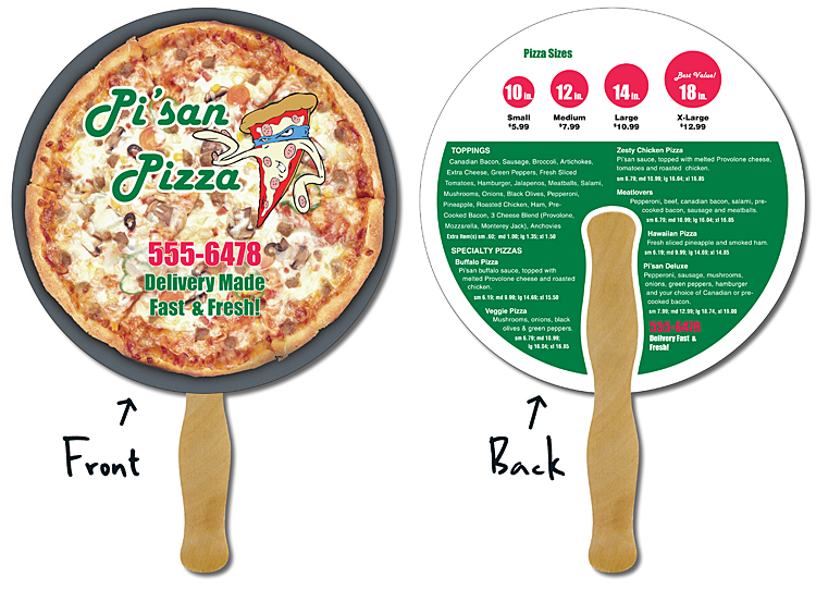 Delivery Hand Fan - 8.5 Inch Diameter Circle Laminated - 14 pt.