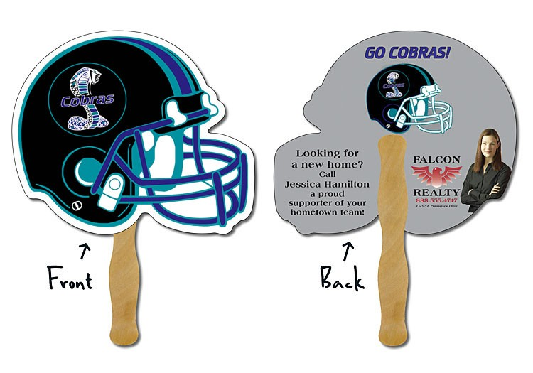 Hand Fan - 10x8.5 Football Helmet Shaped Laminated - 14 pt.