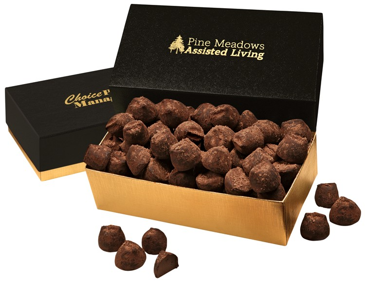 SALE! - Black & Gold Gourmet Treats Gift Box with Cocoa Dusted Truffles