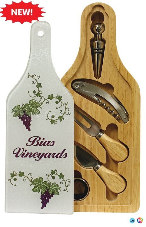 Wine and Cheese Glass Cutting Board Set