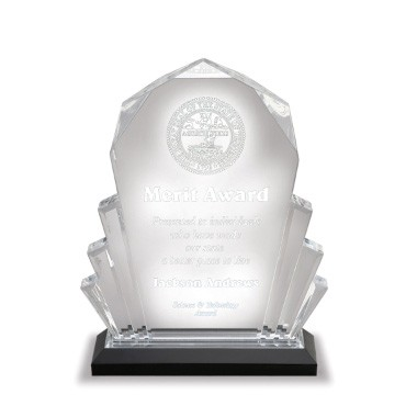 6 x 8 Blue Faceted Acrylic Trophy - Small