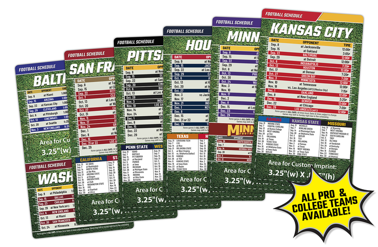Magnet Sport Schedules - 3.5x6 Football Round Corners - 25 mil.