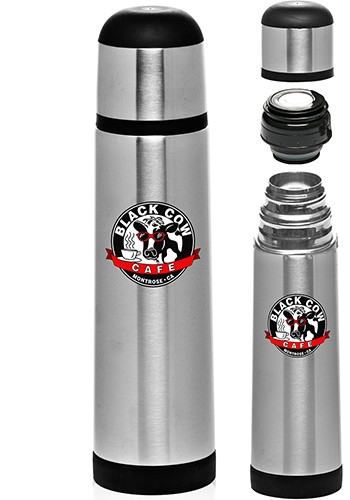 25 oz Black Band Stainless Steel Vacuum Flask