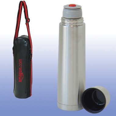 16 oz. Double Stainless Steel Vacuum Thermos Bottle w/Carrying Bag and Nylon Shoulder Strap