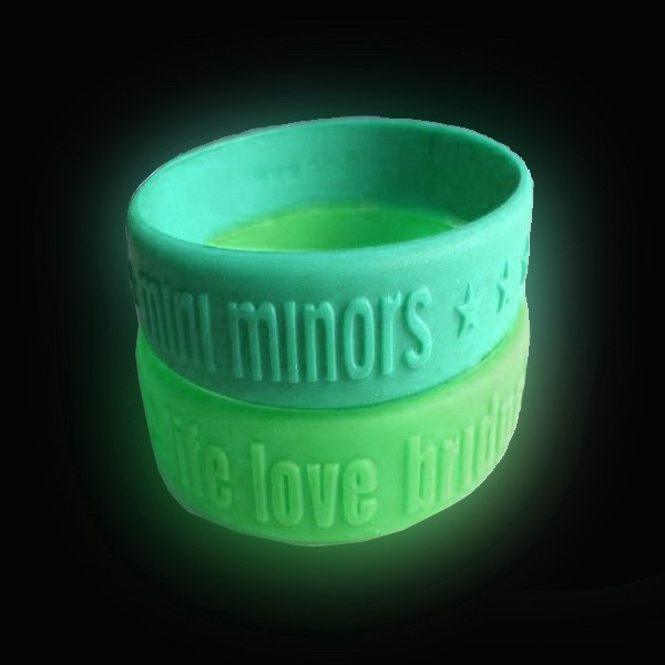 1 Inch Glow In The Dark Embossed Wristbands