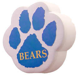 White Soft Foam Paw Shape Embossed Car Antenna Topper Accessory