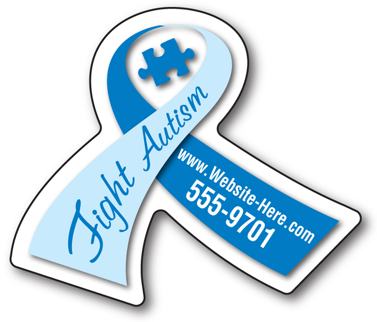 Awareness Magnet - Ribbon Shape (2.6875x2.25) - 25 Mil.
