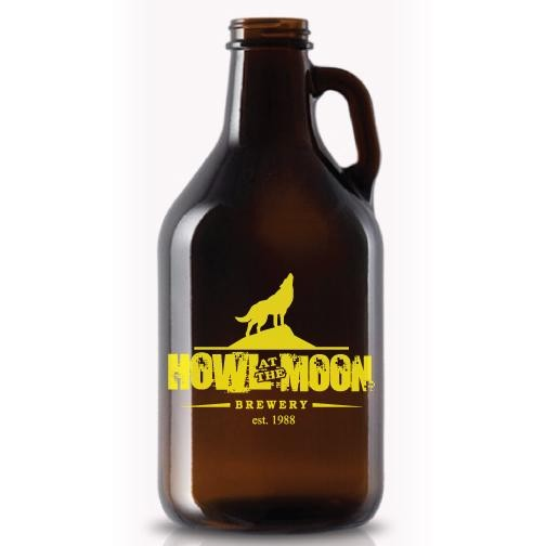 Glass Amber Growler / Jug / Jar / Growlette, 32 oz(lids sold separately - GR-LIDWHITE)