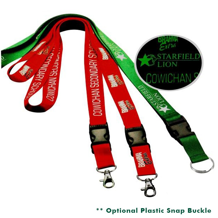 3/8 Polyester Lanyard with Glow in the Dark Printing
