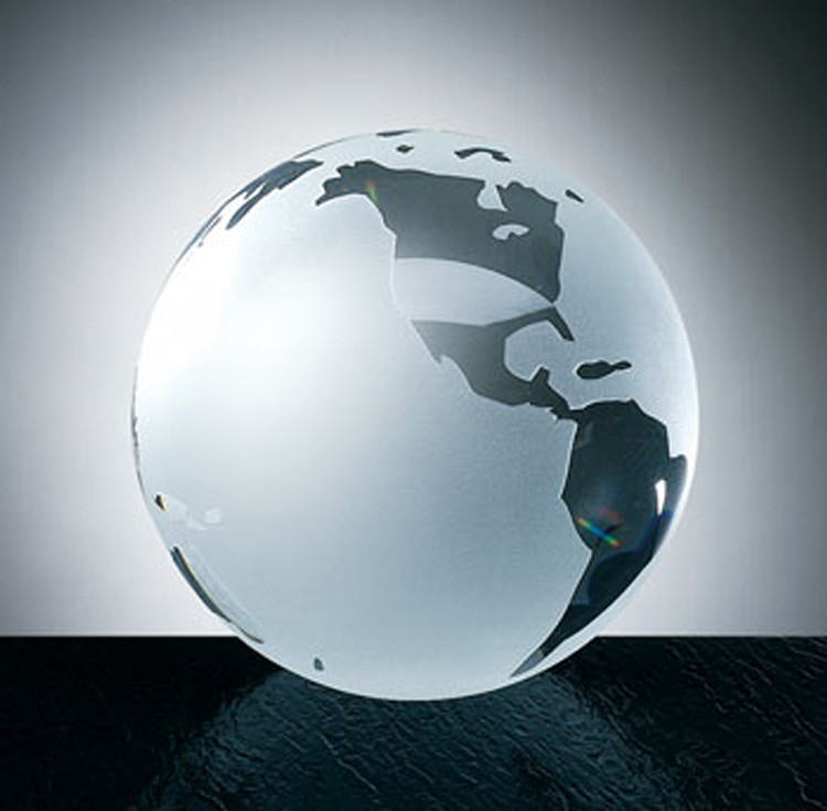 World Globe-Flat Bottom-Molded Glass-Oceans Etched