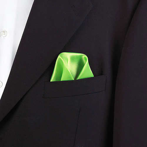 Lime Green Polyester Pocket Square