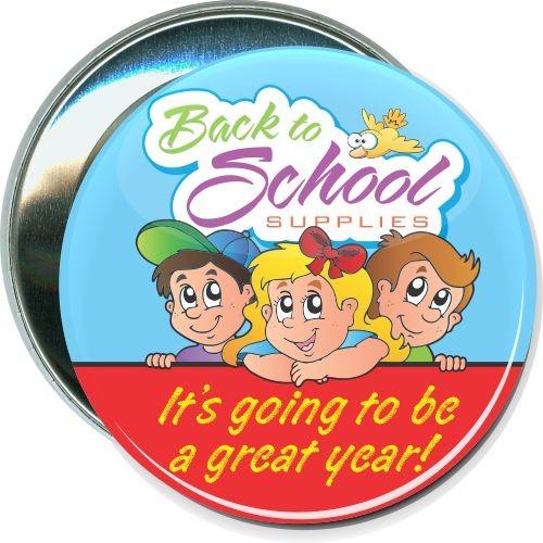 Back to school supplies, School Button