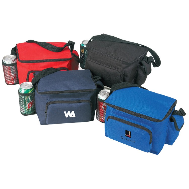 600D Polyester 6-Pack Cooler w/Bottle Holder & Pouch