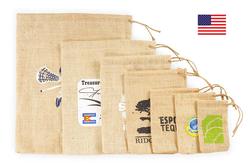 Pine Cone Jute/Burlap Drawstring Bag 8X10 - Pine Cone Jute/Burlap Drawstring Bag