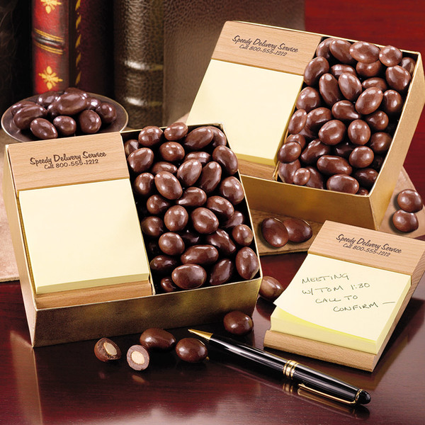 Post-itNote Holder with Chocolate Covered Almonds