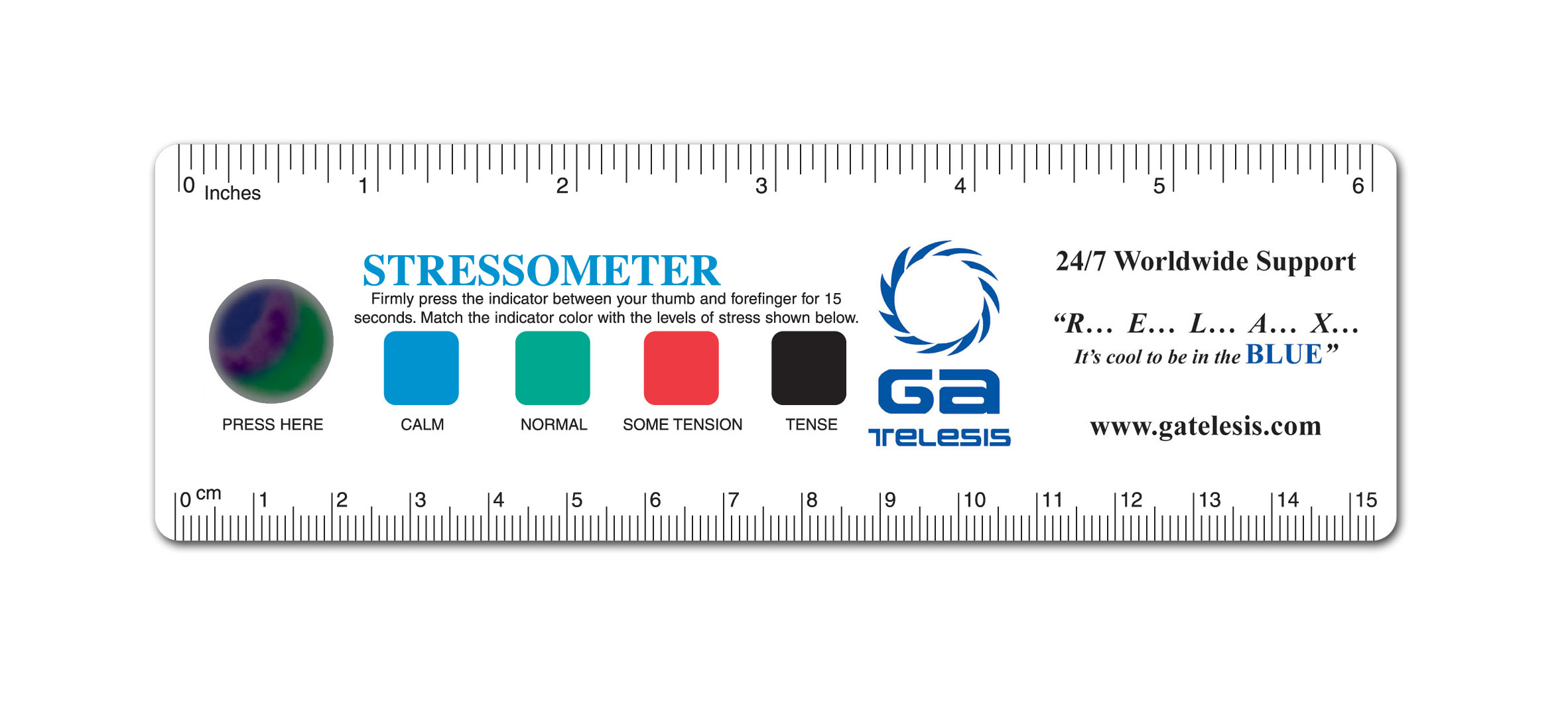 6 Inch Stress Ruler, Large, w/ Stress Crystal