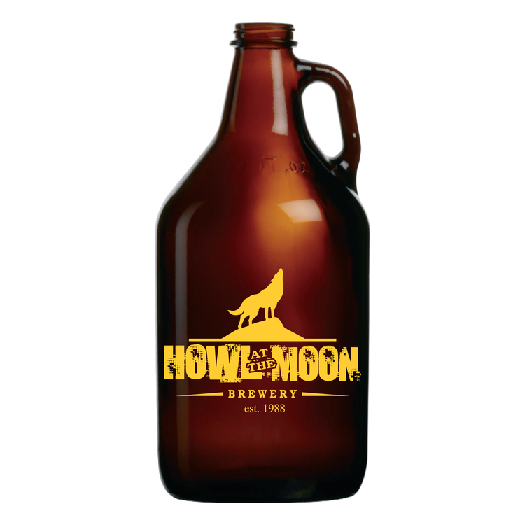 Glass Amber Growler / Jug / Jar, 64 oz(lids sold separately - GR-LIDWHITE)