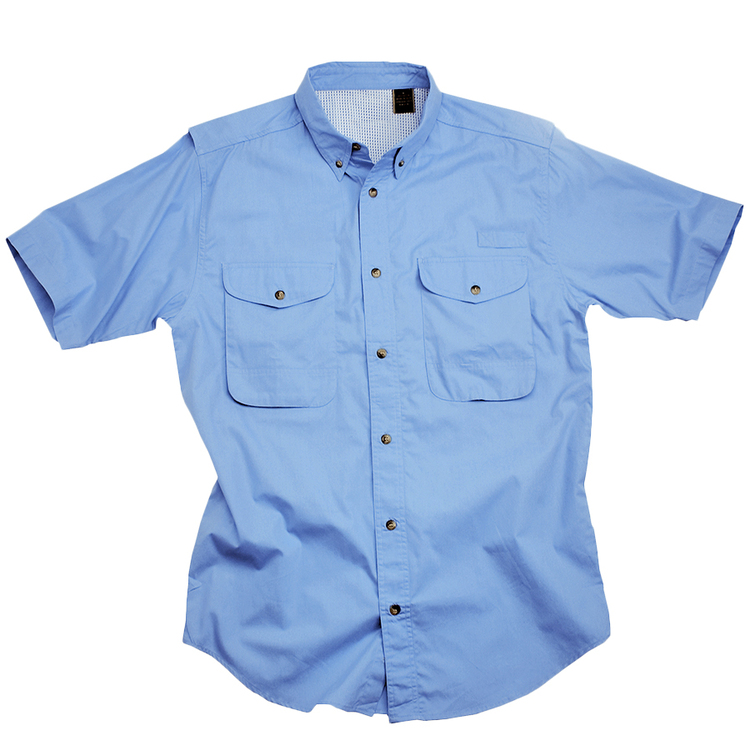 Cotton Poplin Fishing Shirt - Short Sleeve