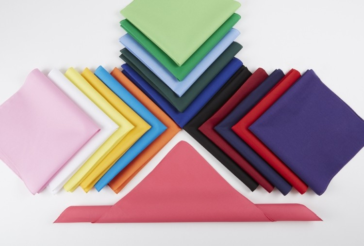 Solid color Micro polyester bandanna 22x22.