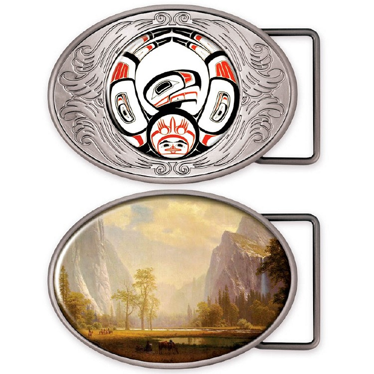 Oval belt buckle medallion in silver