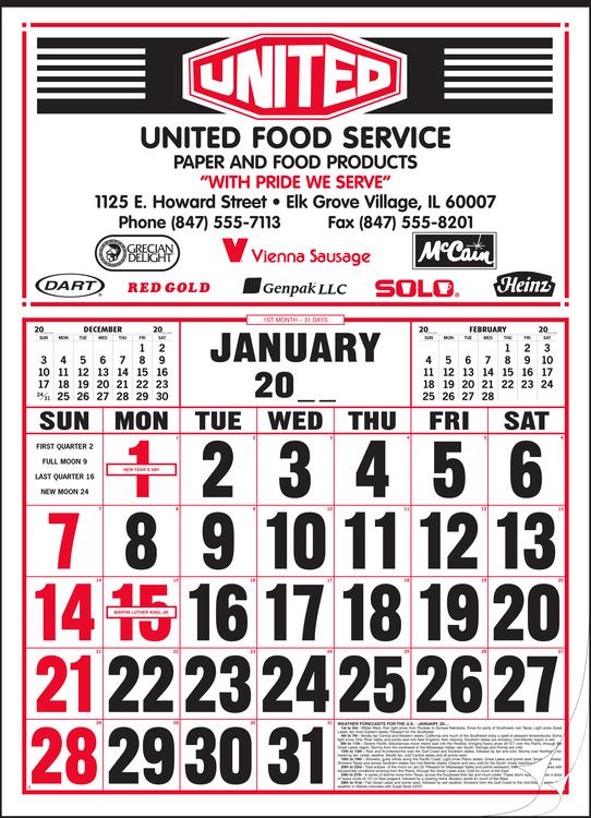 Style 85 Large 12-Sheet Calendar