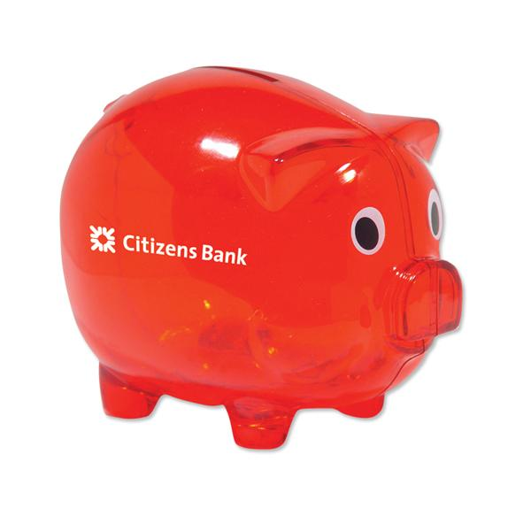 Classic Piggy Bank - Translucent Red