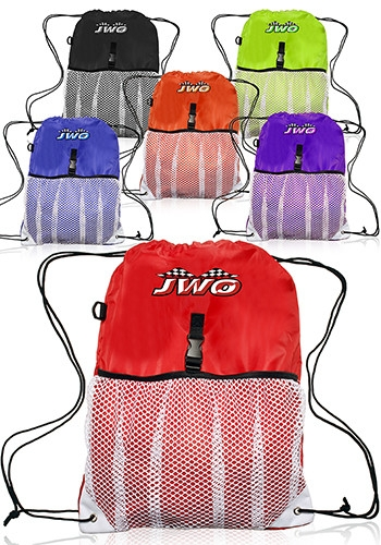 Mesh Pocket Polyester Sports Drawstring Backpack - 13 W x 18 H
