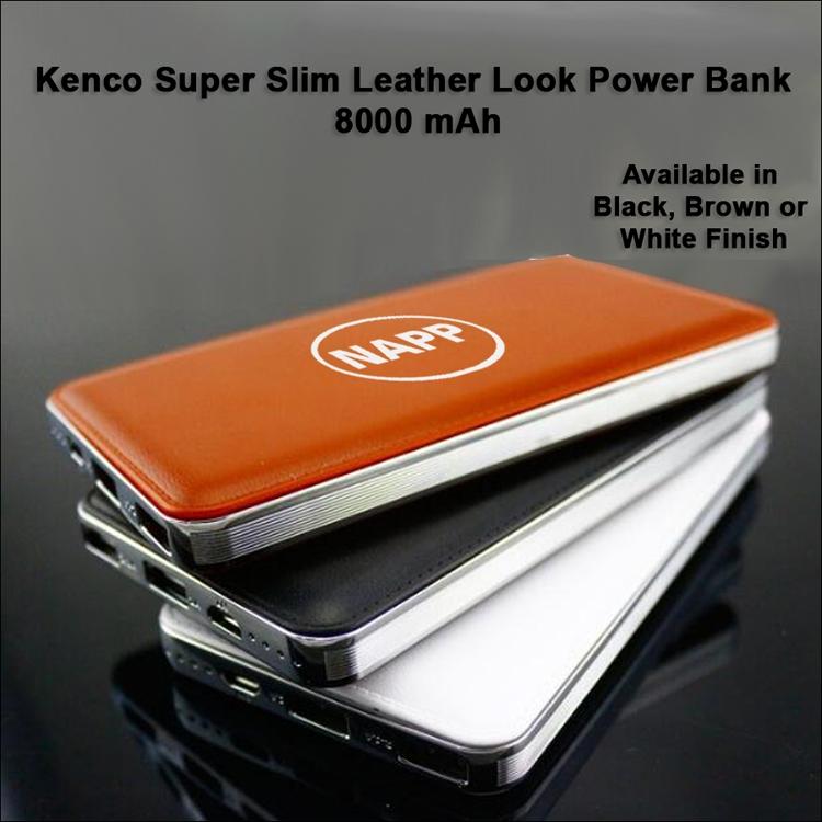 Kenco Super Slim Leather Look Power Bank 8000 mAh