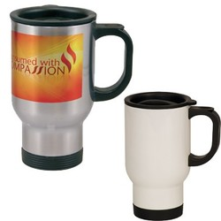 14 oz Full Color Stainless Steel Travel Mug - Full Color Sublimation.