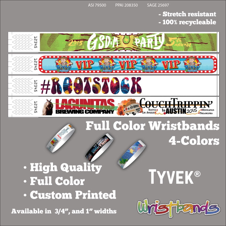 1 Tyvek Custom 3 COLOR Print Wristbands