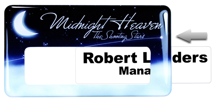 Magnetic Window Name Badge with custom shape from 5.1 - 6 Sq.In.