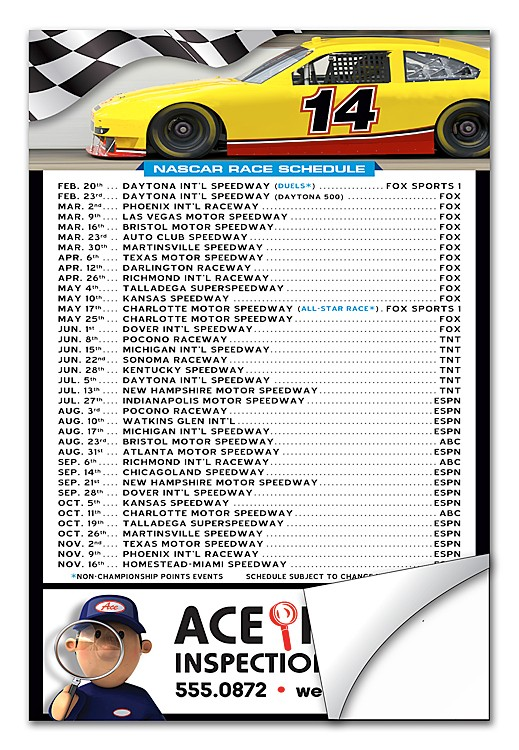 NASCAR Schedule Sticker / Decal - UV-Coated Vinyl - 4x6 Rectangle Shape
