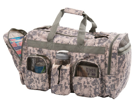 Camo Duffel bag with military imprint.Main 2 side compartment.Front and 2 side zippered pocket.