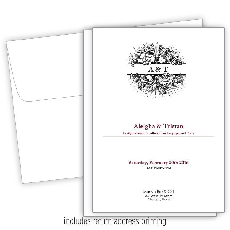 subtle flowers 5x7 engagement party invitation with printed