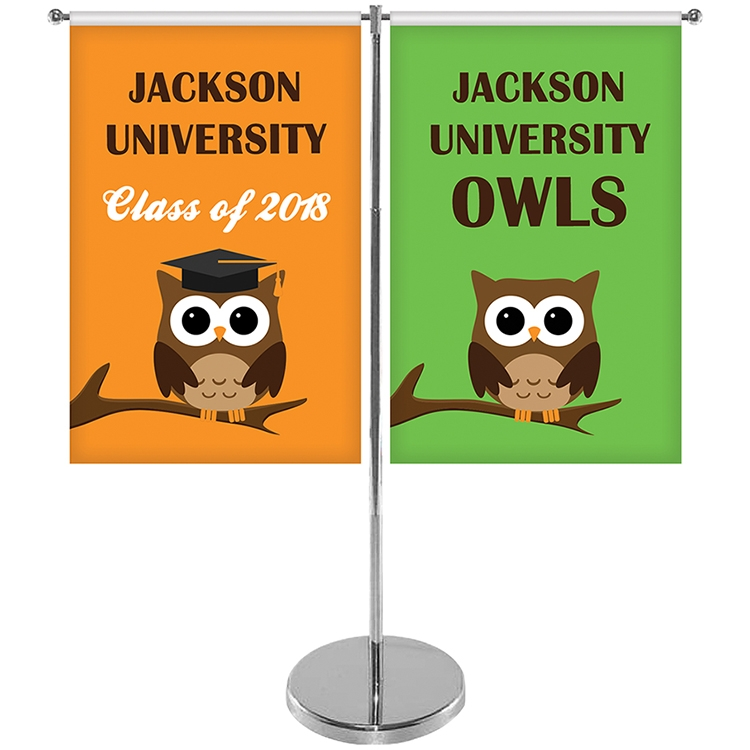 Metal Telescoping Flag Pole with 2 Single Reverse Banners