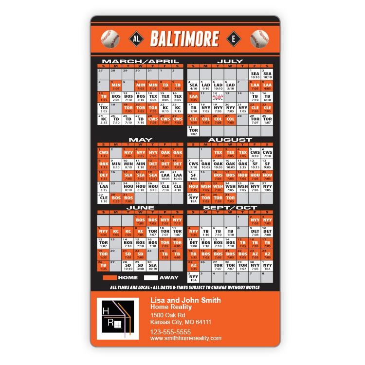 Magnet Sport Schedules - 4x7 Baseball Round Corners - 25 mil.