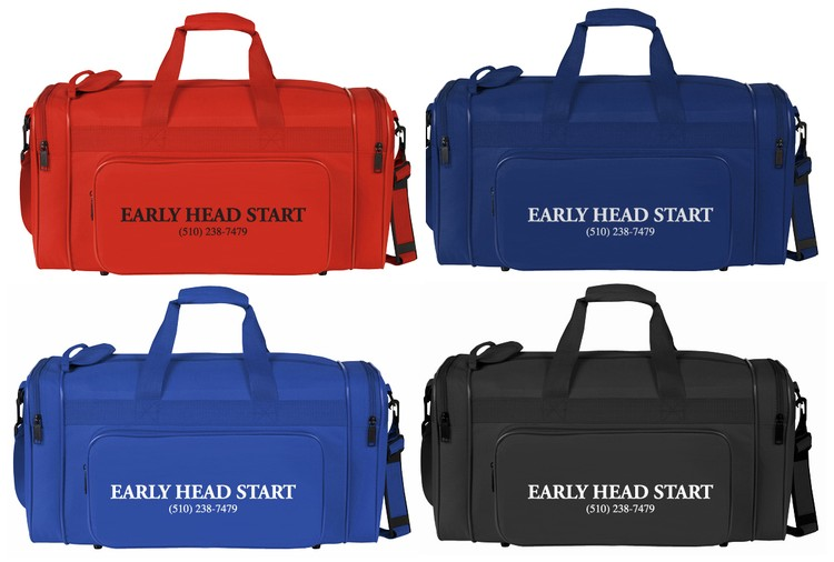 Deluxe 21 sport bag with single zipper pockets on both ends.