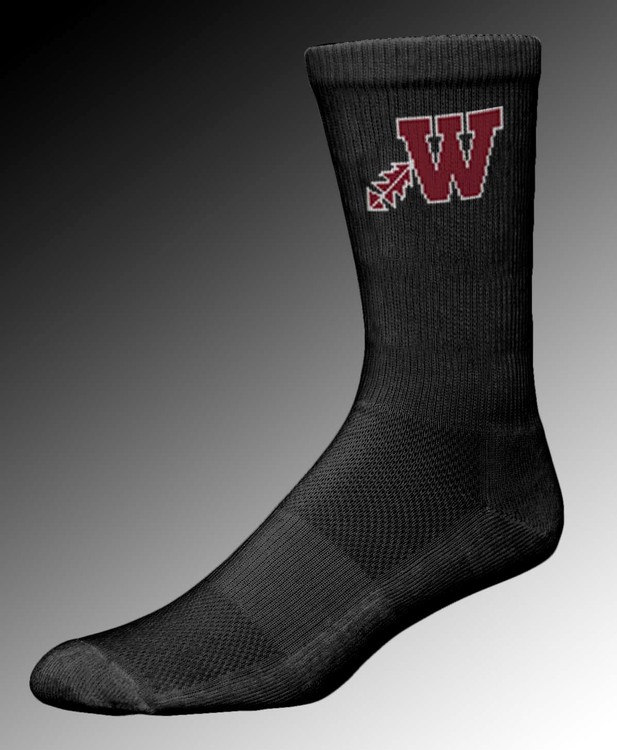 Deluxe CREW Socks in School Colors w MOISTURE WICKING