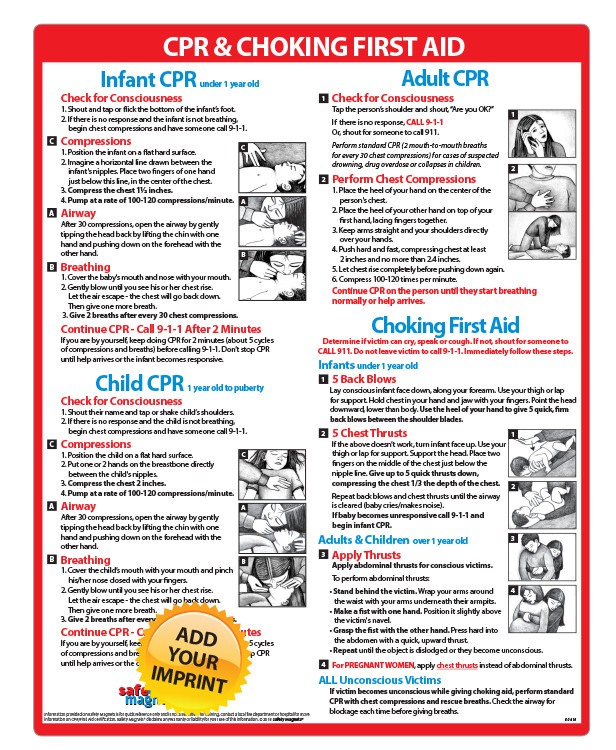 Infant, Child & Adult CPR & Choking Memo Board - 8 5x11 Laminated, Magnet  or Velcro
